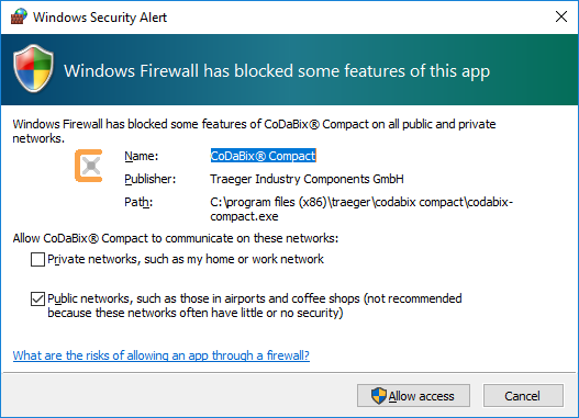 Screenshot of Windows Firewall Dialog